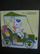 1960s vintage greeting card Forget-Me-Not Easter Postman Bunny in Car w/ Eggs