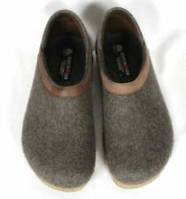 Haflinger Womens Grizzly Heeled Slippers Wool Clogs Gray Brown Sz 38 / US 7