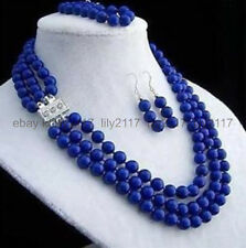 New 8mm 3rows Do not fade lapis lazuli necklace bracelet earring sets