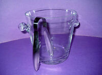 Small Ice Bucket Cut Glass Modern Design With Handles Metal Tongs 6 Inches High