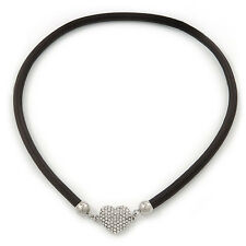 Black Rubber Necklace With Crystal Heart Magnetic Closure - 38cm L