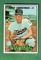1967 TOPPS #501 JERRY ZIMMERMAN MINNESOTA TWINS SEMI-HIGH NUMBER NEAR MINT