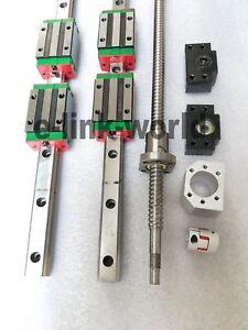 2 set HGR20-1500mm Hiwin-Linear Rail &RM2005-1500mm Ballscrew &BF15/BK15 Kit