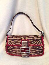 ***RARE**** FENDI Brown Zebra Embroidered Linen Medium Handbag - Red Bead Trim