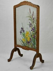 Early twentieth-century French fireplace screen - marquetry and glass with iris