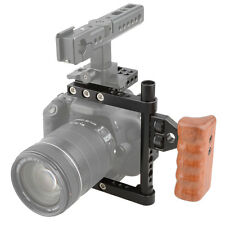 CAMVATE DSLR Camera Cage Stabilizer Rig with Wooden Handle for Canon Nikon Sony