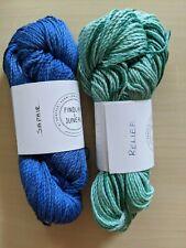 New listing 2 skeins Findlay & Juneau, Saphie (blue) & Relief (green), 100% silk, 136yds