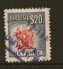 RHODESIA : 1970 New Currency  REVENUE $20 black and red  -BAREFOOT 63 used