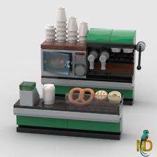 Lego Coffee Shop - Cafe & Bakery Food Store - Minifigure Custom Interior Model