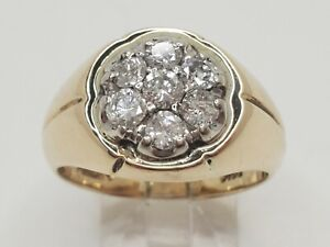 Mens 14k Solid Yellow Gold 1.20tcw Natural Diamond Kentucky Cluster Ring Size 9
