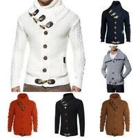 Fall Men' Turtleneck Cardigan Sweater Coat Silm Fit Warm Knitting Outwear Winter