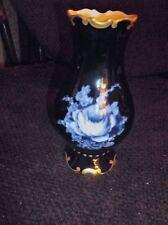 ELEGANT Deep Cobalt Blue VASO DORATO CON TRAMA ~ rosa bianca Design pirkenhammer