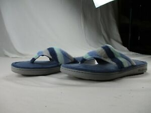Dearfoams Women's Size Lg (9-10) Pre-Owned Microfiber Terry Thong Slippers #0587