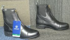 New Wmns ARIAT Heritage IV Zip Paddock Black Leather Ankle Boots 9 B
