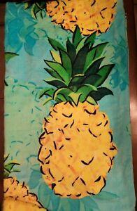 NEW Pineapple Beach Towel Martha Stewart 36 X 68 Tropical Pool Plush Cotton Blue