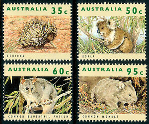 Wildlife 1992 High Values set. Echidna, Koala, Wombat, Possum  MNH  •  FREE POST