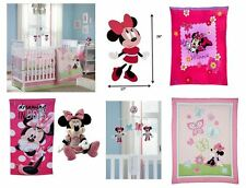 15pc Disney Minnie Mouse Crib Bedding Musical Mobile Large Wall Art Bumper Set