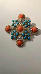 Signed KJL Kenneth Jay Lane Faux Coral Turquoise Maltese Cross Pin /Pendant