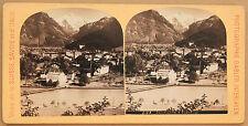 Interlaken Suisse Stéréo Gabler Vintage albumine ca 1885