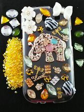 US Seller DIY 3D Bling Cell Phone Case Deco Kit: AB Jelly Rhinestone Elephant