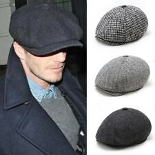 Peaky Blinder Hat Newsboy Flat Cap Herringbone Tweed Wool Baker Boy Gatsby Cap M