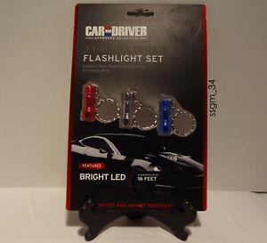 Car and Driver - 3 Pack Keychain Flashlight Set - Illuminates up to 16 ft - NEW