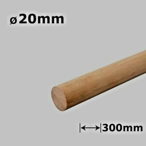 Beech Dowel Smooth Wood Rod Pegs - 300mm length, 20mm diameter