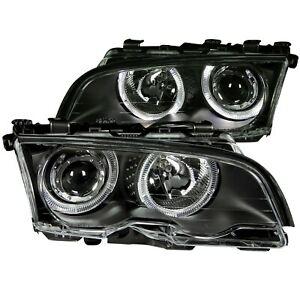 ANZO PROJECTOR HEADLIGHTS BLACK w/ HALO FOR 99-01 BMW 3 SERIES E46 2DOOR