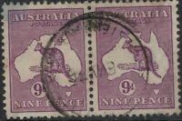 9d kangaroo violet Australia Kangaroos CofA Wmk 9d Violet roo *PAIR* SG 133