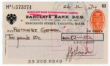 (I.B) Malta Revenue : Cheque Duty 1c 7m (Valletta)