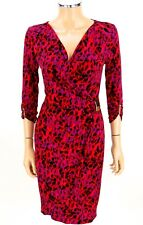 CACHE Dress Faux Wrap SIZE SMALL Red Purple Black Leopard Animal Print Gold