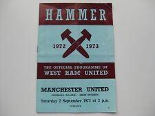 WEST HAM UNITED V MANCHESTER UNITED  02-09-1972  Season 1972-73