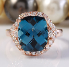 6.80 Carat Natural London Blue Topaz and Diamonds in 14K Solid Rose Gold Ring