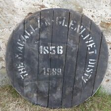 """Old but rare 1989 Macallan Whisky Barrel lid 27"""" wide Braced and ready to hang"""