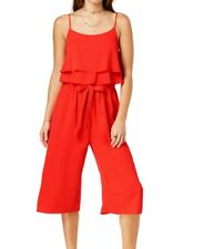 One Clothing Jumpsuit Bright Red Size Large L Junior Overlay Ruffle $49 #159