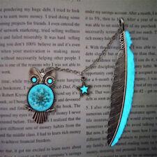 Silver Pentagram Stars Owl Shape Feather Luminous Bookmark Book Marker Read S