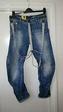 Genuine G STAR Raw ARC 3D Suelto Cónico Tirantes Denim Jeans, cintura 32 inleg 32