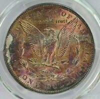 1896 MORGAN SILVER DOLLAR PCGS MS61 BU UNC COLOR TONED OBVERSE WITH LUSTER