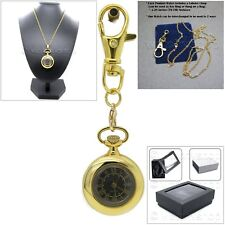 GOLD Vintage Antique Lady Pendant Watch Key Chain Necklace Gift Box L60