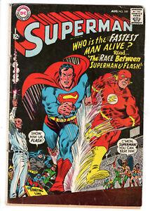SUPERMAN #199 (1967) - GRADE 4.0 - 1ST SUPERMAN VS FLASH RACE - SILVER AGE!