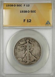 1938-D Walking Liberty Half Dollar Coin 50C ANACS F 12 Better Quality E