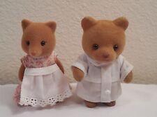 2 Vintage Sylvania Plastic Velvet Felt Flocked Animals ~ Squirrel (Fox?) & Bear