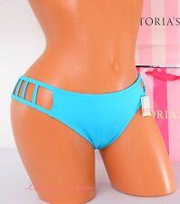 VICTORIA'S SECRET VS PINK Swim Cage Strappy Bikini Bottom L Large Sea Blue 31HA