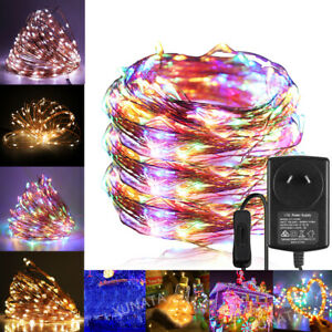 10M 20M 50M Plug-in 12V LED Copper Wire String Fairy Xmas Party Garden Lights AU