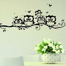 Home Decor Removable Vinyl Decal Owl Cartoon Wall Sticker Kids Nursery Room S
