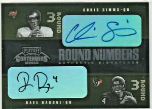 C Simms D Ragone M Smith C Brown 2003 Contenders Round Numbers Quad AUTO RC /50