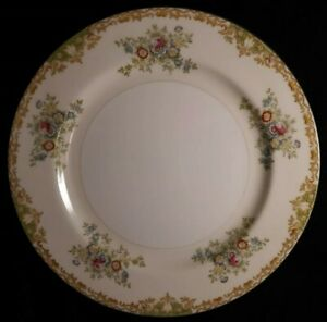 """6 Imperial China Japan Dinner Plates Flowers, Yellow & Green Scroll Rim 9 3/4"""""""