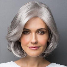 30-35cm Women Grey Short Bob Natural Curly Wavy Synthetic Hair Cosplay Full Wigs