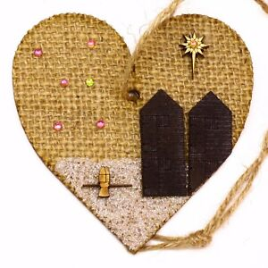 MDF/Hessian Christmas Tree Heart Decoration Hastings Net Hut Cottage Boat Winkle