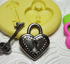 Silicone Resin Polymer Clay Fimo Fondant Flexible Push Mold LOCK AND KEY 6815